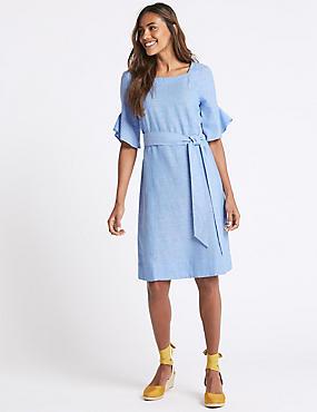 Linen Blend Half Sleeve Tunic Dress, BLUE, catlanding