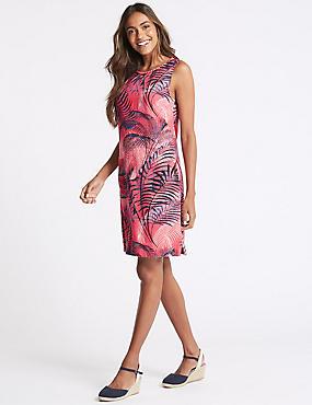 Linen Blend Printed Tunic Dress, PINK MIX, catlanding