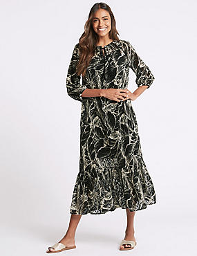 Palm Print 3/4 Sleeve Tunic Maxi Dress, BLACK MIX, catlanding