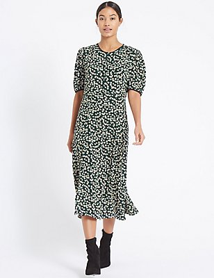 Daisy Print Short Sleeve Tea Midi Dress, BLACK MIX, catlanding