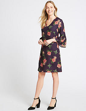 Floral Print Flared Cuff Sleeve Tunic Dress, BLACK MIX, catlanding