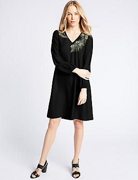 Embroidered Long Sleeve Tunic Midi Dress, BLACK MIX, catlanding