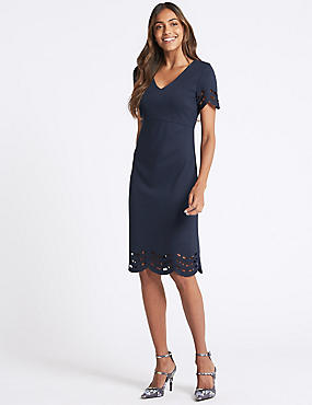 Cutwork V-Neck Short Sleeve Tunic Dress, NAVY, catlanding
