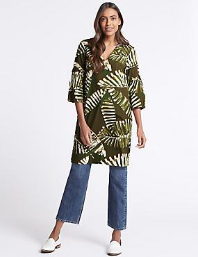 Pure Cotton Printed 3/4 Sleeve Tunic Dress , GREEN MIX, catlanding