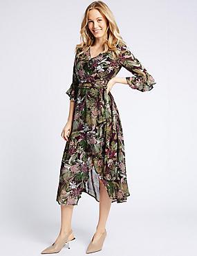 Floral Print Ruffle Sleeve Wrap Midi Dress , PINK MIX, catlanding