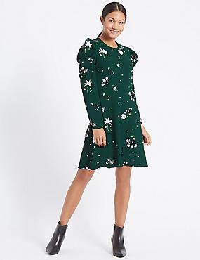 Floral Print Puff Sleeve Skater Dress, GREEN MIX, catlanding