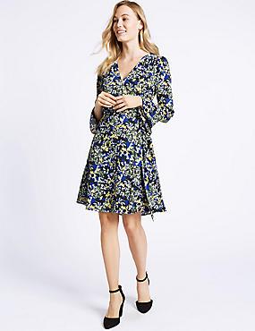 Floral Print Long Sleeve Wrap Dress , BLACK MIX, catlanding