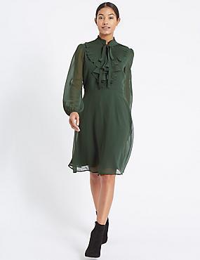 Mesh Ruffle Bubble Sleeve Tea Dress , GREEN, catlanding