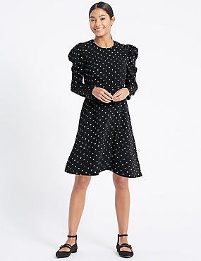 Spotted Puff Sleeve Skater Dress, BLACK MIX, catlanding