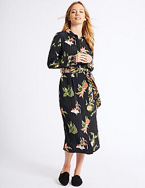PETITE Floral Print Shirt Midi Dress , BLACK MIX, catlanding