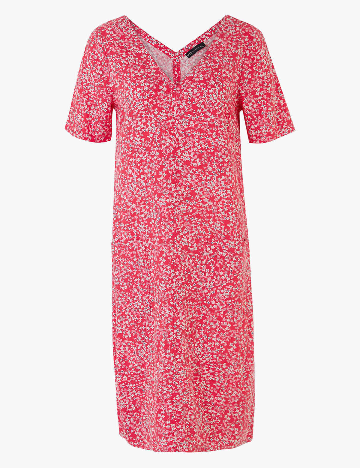 Свободное платье с V-образным вырезом из льна