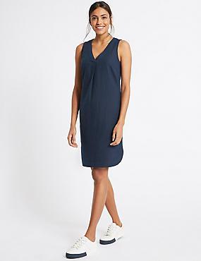 Linen Blend Curved Hem V-Neck Tunic Dress, NAVY, catlanding