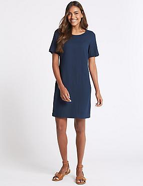 Linen Blend Seam Detail Tunic Dress, NAVY, catlanding