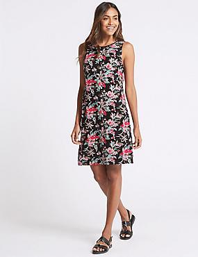 Linen Blend Printed Tunic Dress, BLACK MIX, catlanding