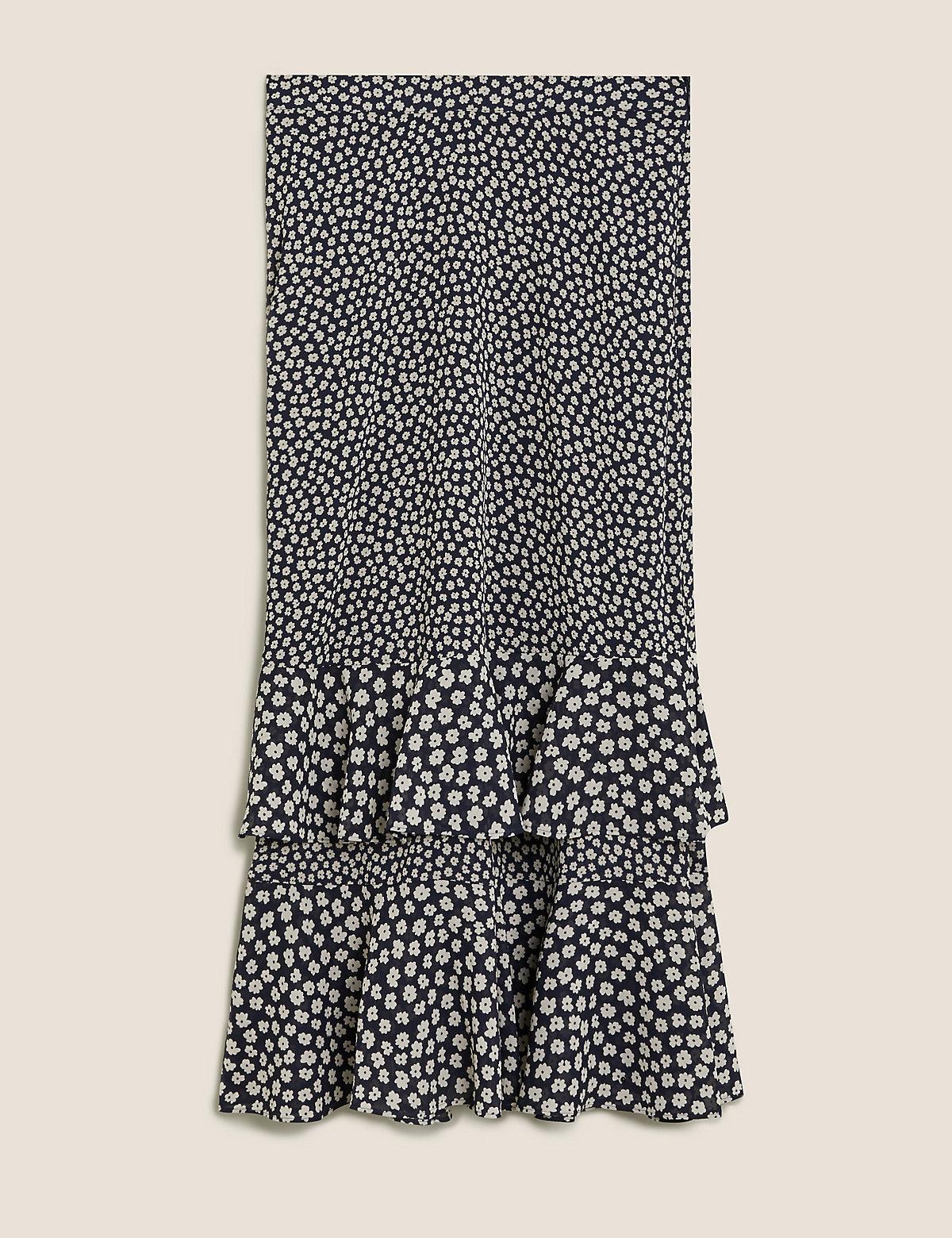 Многоярусная юбка миди с цветочными оборками