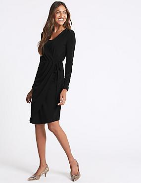 Asymmetric Long Sleeve Wrap Midi Dress , BLACK, catlanding