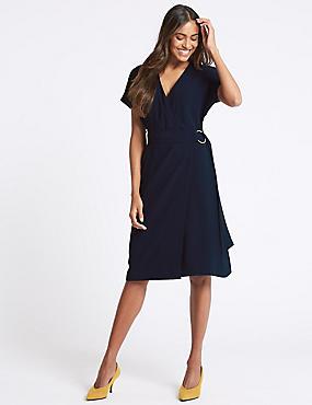 Tie Side Half Sleeve Wrap Dress, NAVY, catlanding