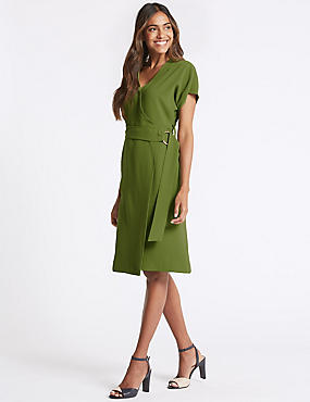 Tie Detail Short Sleeve Wrap Midi Dress, GREEN, catlanding