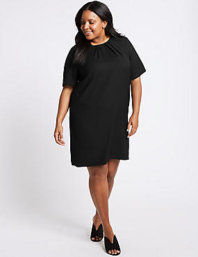 CURVE Pleated Short Sleeve Tunic Dress, BLACK, catlanding