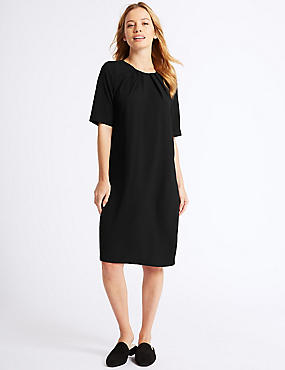 PETITE Short sleeve Tunic Dress , BLACK, catlanding