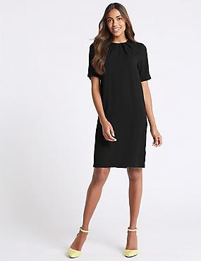 Pleated Short Sleeve Tunic Dress, BLACK, catlanding