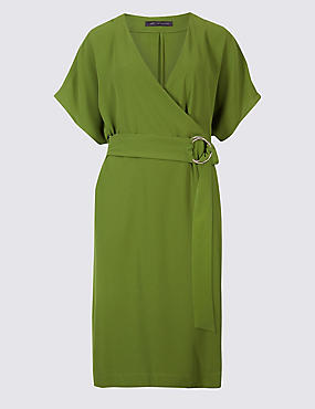PETITE Ring Detail Wrap Midi Dress , GREEN, catlanding