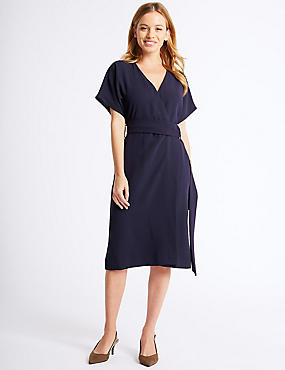 PETITE Ring Woven Wrap Midi Dress, NAVY, catlanding