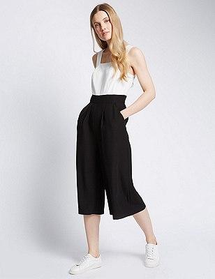 Monochrome Culottes Jumpsuit, BLACK MIX, catlanding