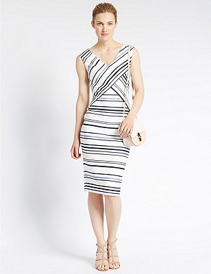 Tailored Fit Crossover Striped Shift Dress, IVORY MIX, catlanding