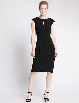PETITE Cap Sleeve Crêpe Shift Dress, BLACK, catlanding