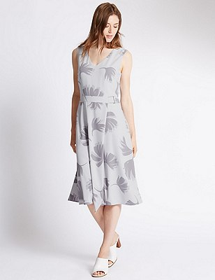 Tailored Fit Plam Print Belted Shift Dress, GREY MIX, catlanding