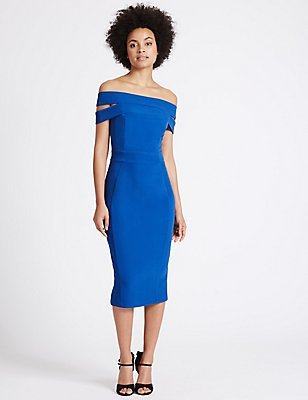 Bardot Split Back Bodycon Dress, BLUE, catlanding