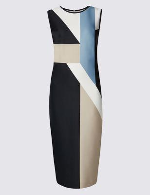 Прямое платье с геометрическим дизайном колорблок