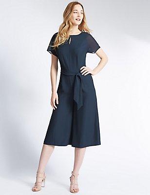 Short Sleeve Jumpsuit, NAVY, catlanding