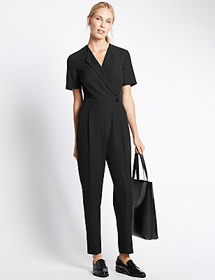 Flip Back Short Sleeve Jumpsuit, BLACK, catlanding