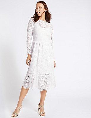 Cotton Blend Lace Detail Swing Midi Dress, IVORY, catlanding