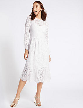 Cotton Blend Lace Detail Swing Midi Dress, IVORY, catlanding