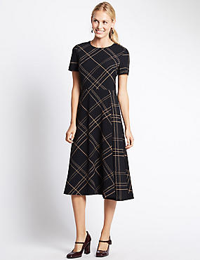 Fit & Flare Round Neck Checked Dress, NAVY MIX, catlanding