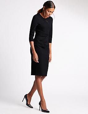 Slim Fit Bodycon Dress, NAVY MIX, catlanding