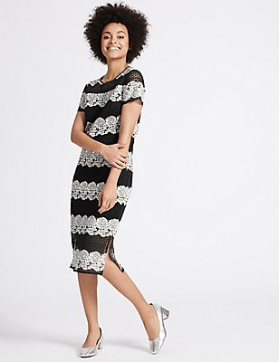 Floral Lace Short Sleeve Shift Midi Dress, BLACK MIX, catlanding