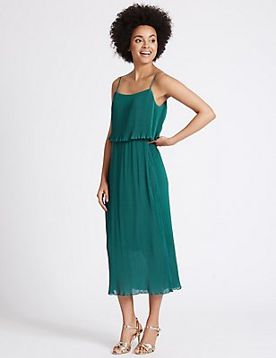 Plisse Double Layered Shift Midi Dress, GREEN, catlanding