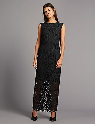 Cutwork Floral Lace Maxi Dress with Belt, BLACK, catlanding