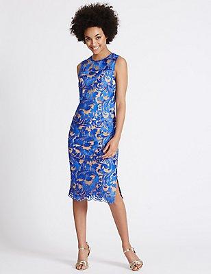 Flock Lace Shift Midi Dress , BLUE MIX, catlanding