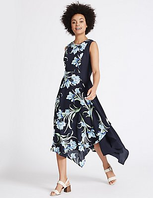 Printed Asymmetric Hem Swing Midi Dress, BLUE MIX, catlanding