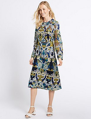 Multi Embroidered Long Sleeve Midi Dress, BLUE MIX, catlanding