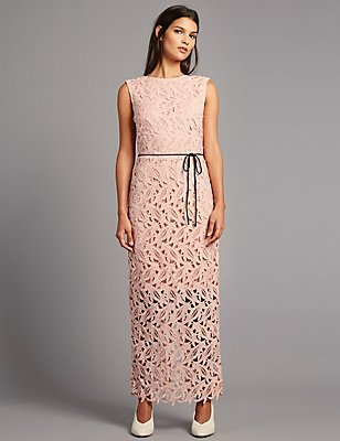 Lace Maxi Dress with Belt, BLUSH, catlanding
