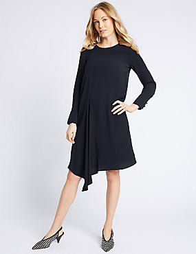 Asymmetric Long Sleeve Tunic Dress , NAVY, catlanding