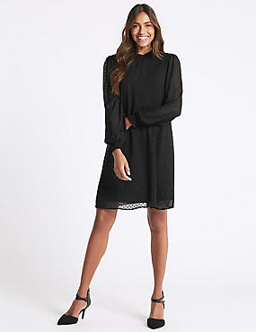 Spotted Long Sleeve Swing Dress , BLACK, catlanding