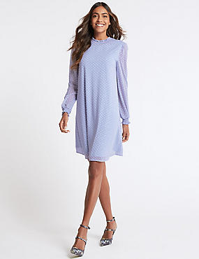 Spotted Long Sleeve Swing Dress, BLUE, catlanding