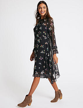 Floral Print Hanky Hem Midi Dress, NAVY MIX, catlanding